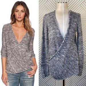 Free People Gotham Faux Wrap Sweater in Gray Cream